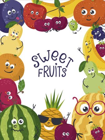 Vector background with cute fruits