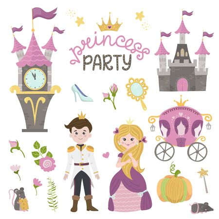 Cute little princess Cinderella set objects. Collection design element with pretty girl, carriage, watch, mirror, accessories. Kids baby clip art funny smiling character