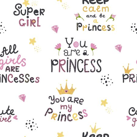 Seamless patern with lettering with cute princess phrases