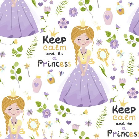 Seamless pattern with princess and lettering  イラスト・ベクター素材