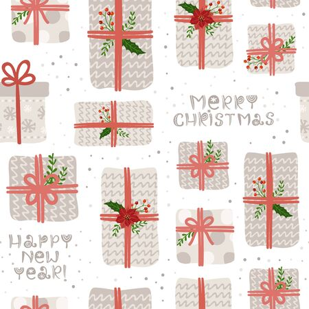Seamless pattern with Christmas gifts and lettering  イラスト・ベクター素材