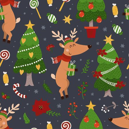 Christmas seamless pattern with deers and Christmas tree