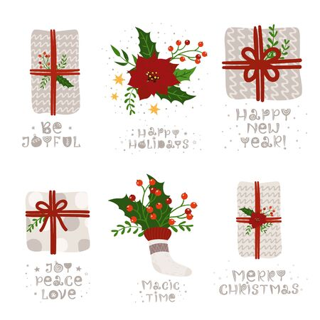 Christmas set of greeting card with gift and lettering.