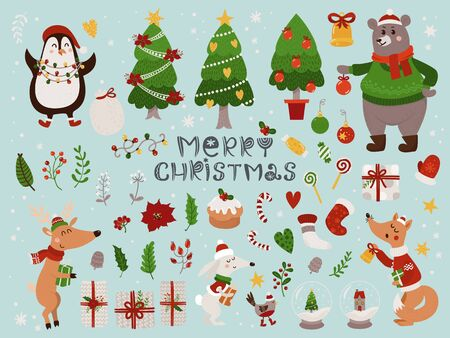 Christmas set with isolated cute forest animals and different items. Illustration for kids, X-mas holidays. Çizim