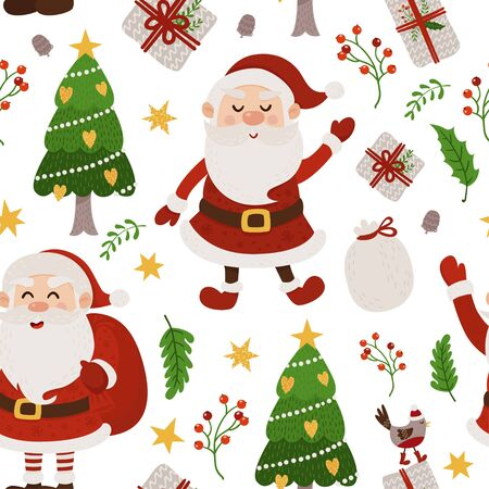 Christmas seamless pattern with Santa and Christmas tree. Vector illustration for your design