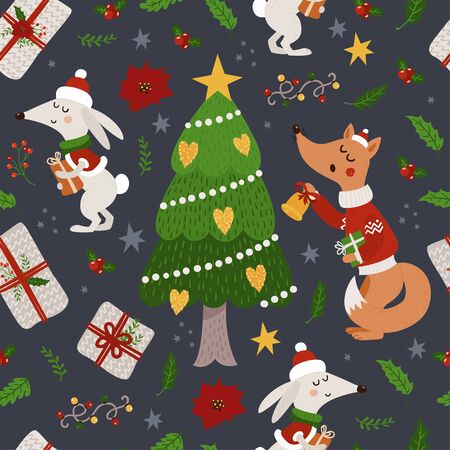 Christmas seamless pattern with foxes, hares and Christmas tree. Vector illustration for your design