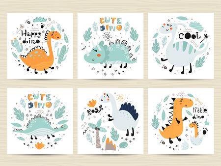 Set of posters with cute dinosaurs and letterings. Childish design for birthday invitation, poster, clothing, nursery wall art and card.