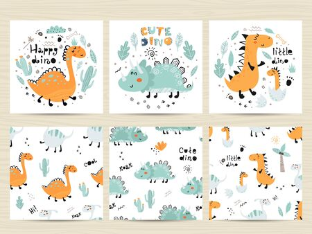Set of posters and seamless patterns with cute dinosaurs and letterings.