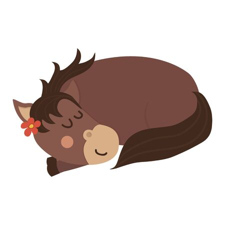 Cute and sleeping brown horse.  イラスト・ベクター素材