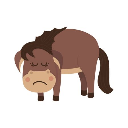 Sad and cute brown horse.