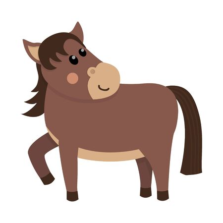 Cute and funny brown horse.  イラスト・ベクター素材