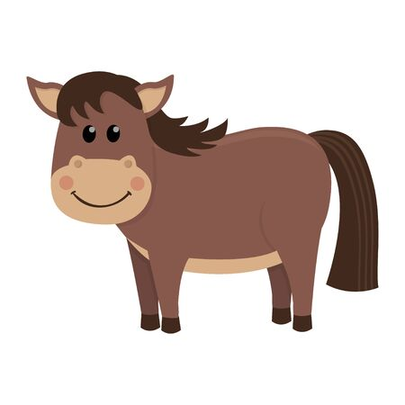 Cute and funny brown horse. Illustration