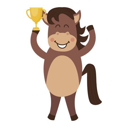 A cute and joyful brown horse with a won cup. Cartoon vector illustration isolated on white background.