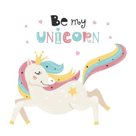Cute poster with magical unicorn. Childish design for birthday invitation, poster, clothing, nursery wall art and card.