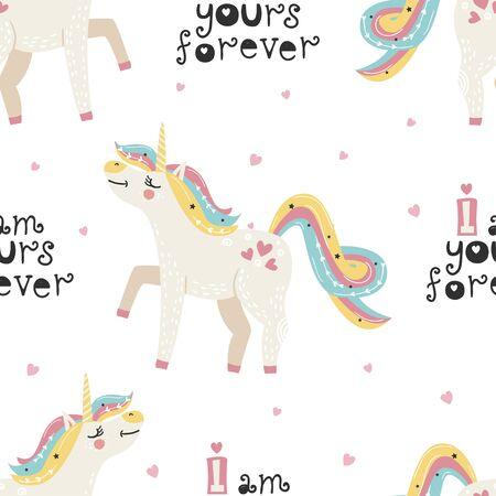 Seamless pattern with cute unicorn  イラスト・ベクター素材