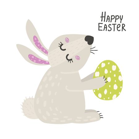 Cute rabbit with easter eggs. Happy Easter bunny Ilustrace