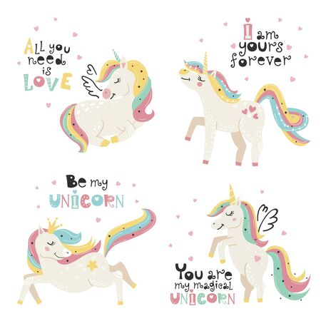 Set of cute posters with magical unicorn