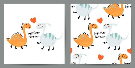 Set of cute poster and seamless pattern with dinosaurs  イラスト・ベクター素材