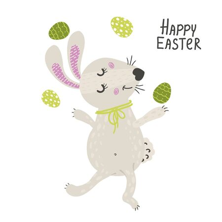 Cute rabbit with easter eggs. Happy Easter bunny. Vector illustration for your design.