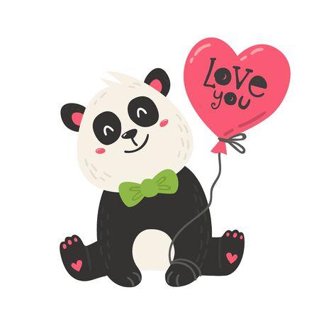 Cute poster with panda bear  イラスト・ベクター素材