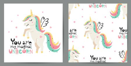 Set of cute poster and seamless pattern with magical unicorns. Childish design for birthday invitation, poster, clothing, nursery wall art and card.