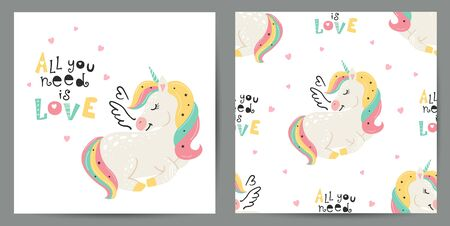 Set of cute poster and seamless pattern with magical unicorns  イラスト・ベクター素材