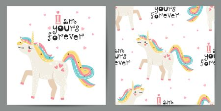 Set of cute poster and seamless pattern with magical unicorns Illustration