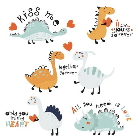 Set of cute posters with dinosaurs