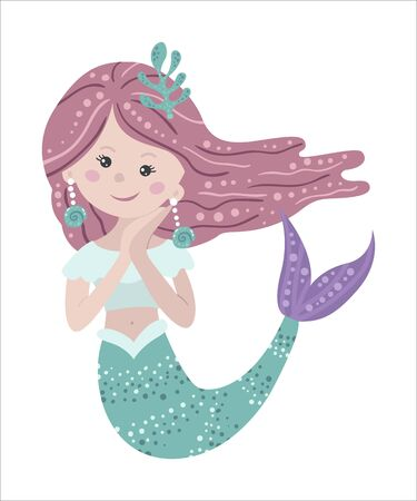 Cute isolated mermaid on a white background. Childish design for birthday invitation, poster, clothing, nursery wall art and card.  イラスト・ベクター素材