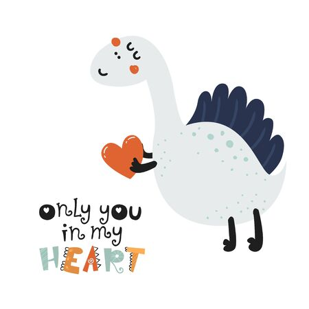 Cute poster with dinosaurs. Love design for birthday invitation, poster, clothing, nursery wall art and Valentines day card.