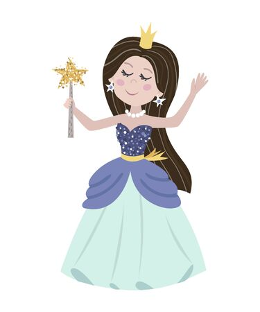 Cute isolated princess on a white background. Childish design for birthday invitation, poster, clothing, nursery wall art and card.