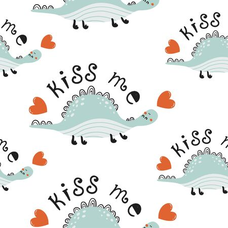 Seamless pattern with cute dinosaurs. Love design for birthday invitation, poster, clothing, nursery wall art and Valentines day card.