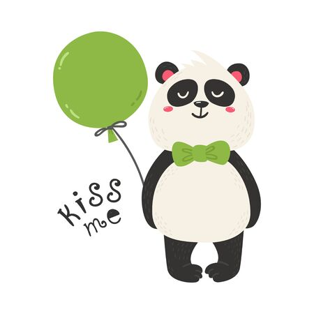 Cute poster with panda bear. Love design for birthday invitation, poster, clothing, nursery wall art and Valentines day card.  イラスト・ベクター素材