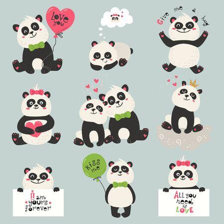 Set of cute panda bears. Love design for birthday invitation, poster, clothing, nursery wall art and Valentines day card. Illusztráció