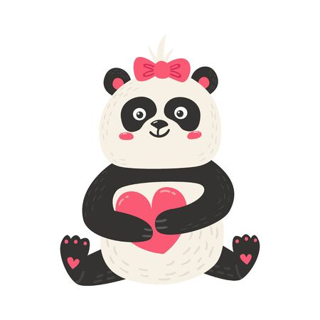 Cute poster with panda bear. Love design for birthday invitation, poster, clothing, nursery wall art and Valentines day card. Illusztráció