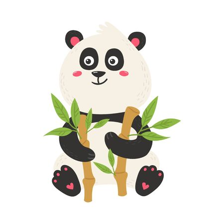 Cute poster with panda bear. Love design for birthday invitation, poster, clothing, nursery wall art