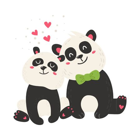 Cute poster with panda bears. Love design for birthday invitation, poster, clothing, nursery wall art and Valentines day card.