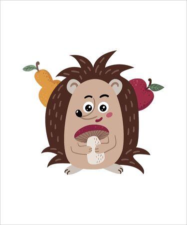 Cute isolated hedgehog on a white background. Childish design for birthday invitation, poster, clothing, nursery wall art and card. Illusztráció