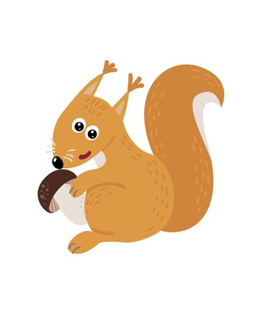 Cute isolated squirrel on a white background. Childish design for birthday invitation, poster, clothing, nursery wall art and card. Illusztráció