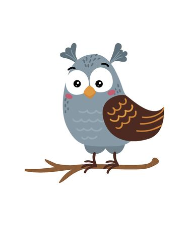 Cute isolated owl on a white background. Childish design for birthday invitation, poster, clothing, nursery wall art and card.  イラスト・ベクター素材