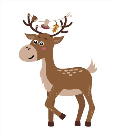 Cute isolated deer on a white background. Childish design for birthday invitation, poster, clothing, nursery wall art and card.