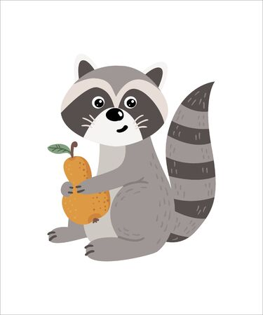 Cute isolated raccoon on a white background. Childish design for birthday invitation, poster, clothing, nursery wall art and card.