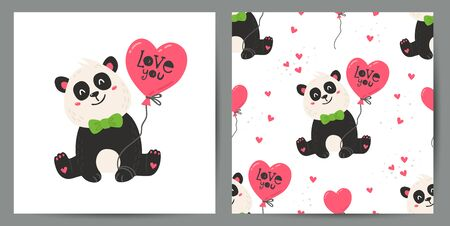 Set of cute poster and seamless pattern with pandas. Love design for birthday invitation, poster, clothing, nursery wall art and Valentines day card.