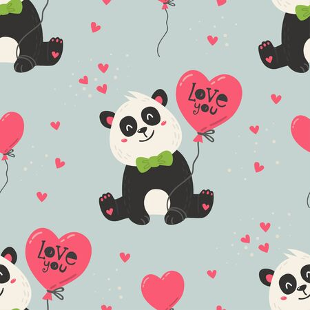 Seamless pattern with cute pandas. Love design for birthday invitation, poster, clothing, nursery wall art and Valentines day card.