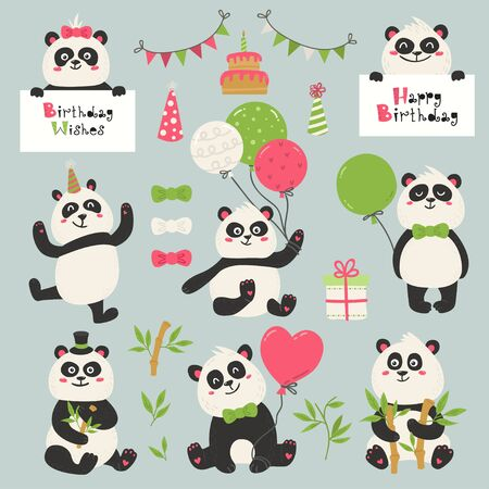 Set of cute panda bears. Love design for birthday invitation, poster, clothing, nursery wall art