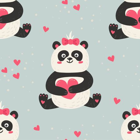Seamless pattern with cute pandas. Love design for birthday invitation, clothing, nursery wall art and Valentines day card.