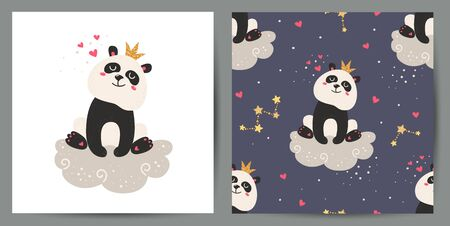 Set of cute poster and seamless pattern with pandas.