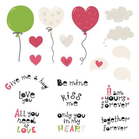 Set with balloons, hearts and lettering love phrases Illusztráció