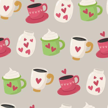 Seamless pattern with cups Illusztráció