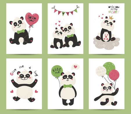 Set of posters with cute pandas
